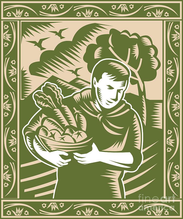 Farmer Digital Art - Organic Farmer With Basket Harvest Crops Retro by Aloysius Patrimonio