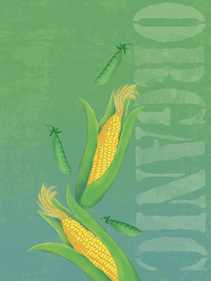 Vertical Digital Art - Organic Produce Illustration by Don Bishop