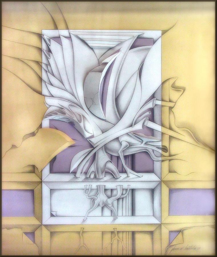 Twigs Drawing - Organicomp 1991 by Glenn Bautista