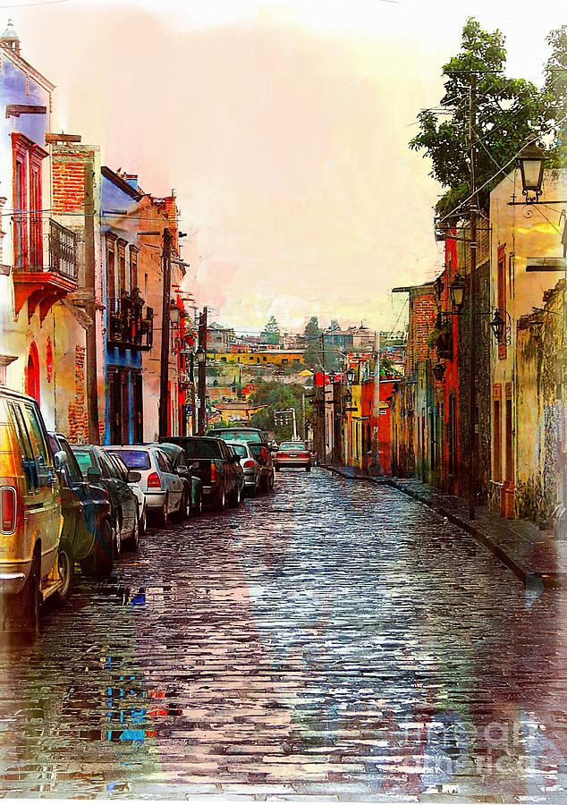 Street Photograph - Organos Watercolor by John Kolenberg