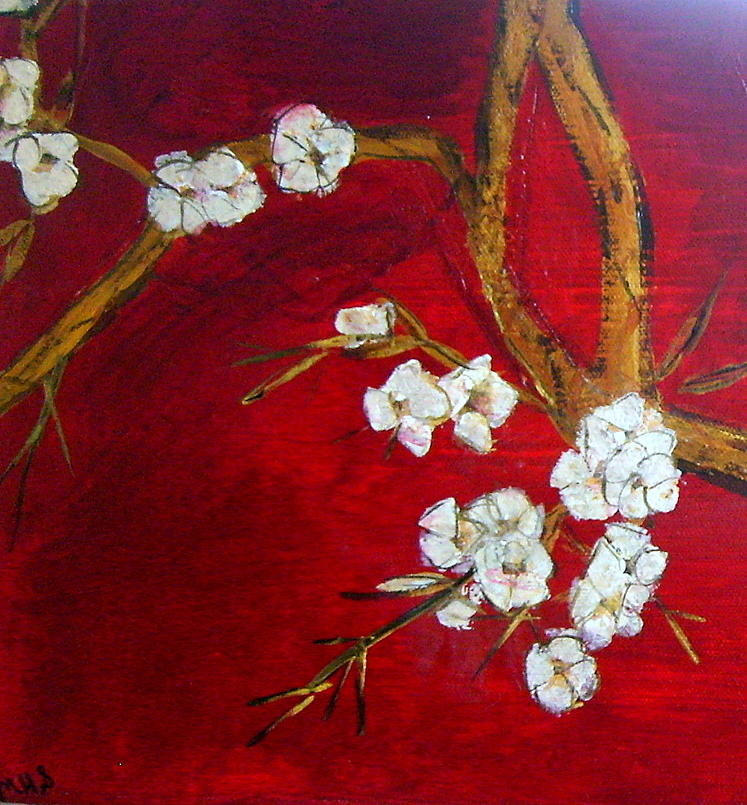 Oriental Flower Blossom Painting By Melynnda Smith
