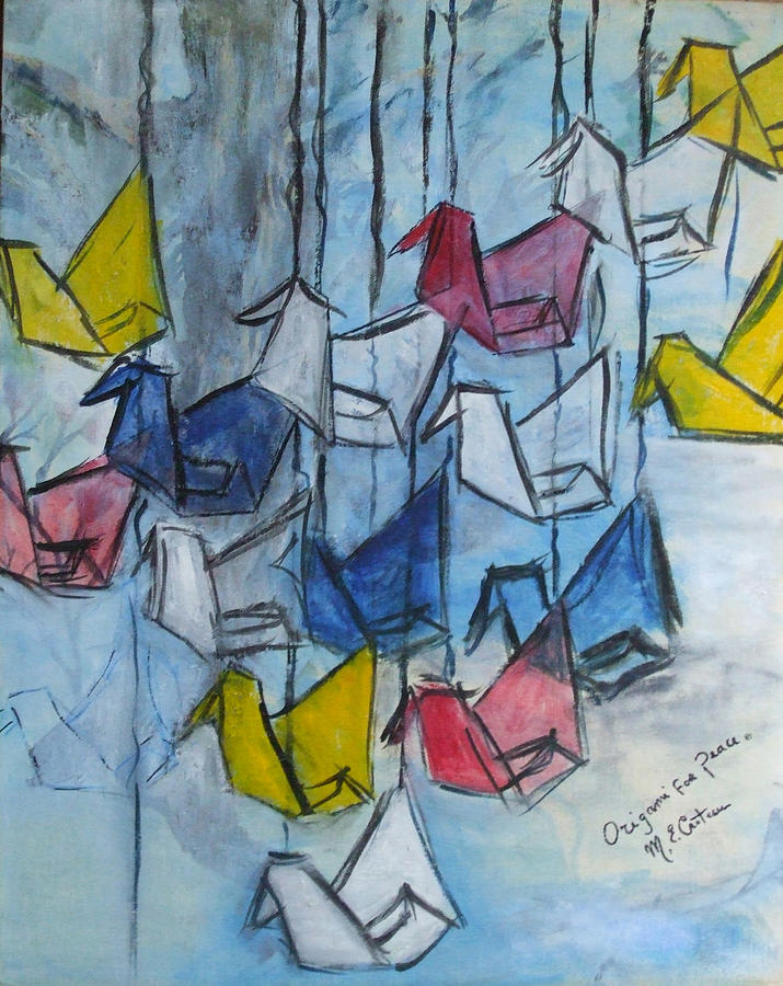 Origami Painting - Origami For Peace by Michel Croteau