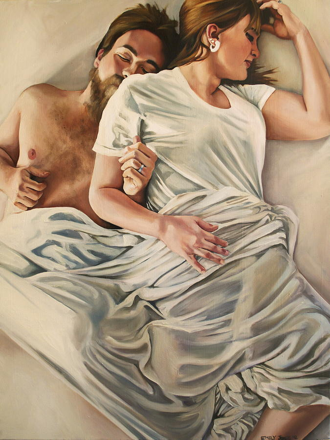 Bed Painting - Origin Of Love #4 by Emily Jones