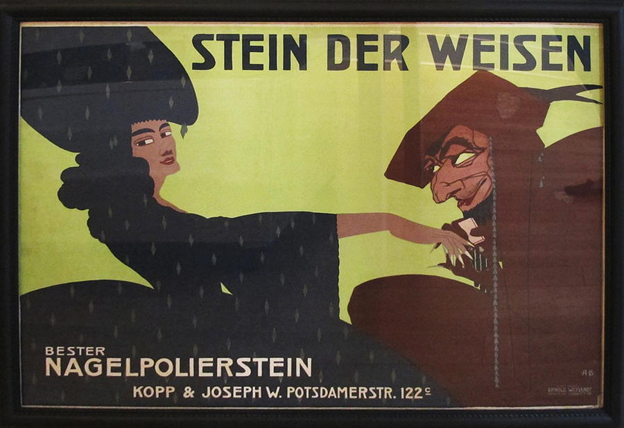 Original Painting - Original 1911 German Ad For Nail Buffing Stones - Stein Der Weisen - Framed by Alfred Boeld