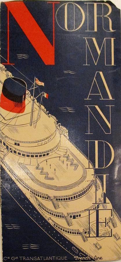 Normandie Painting - Original 1935 S.s. Normandie Brochure With Photos And Text  by Herbert B Libiszewksi