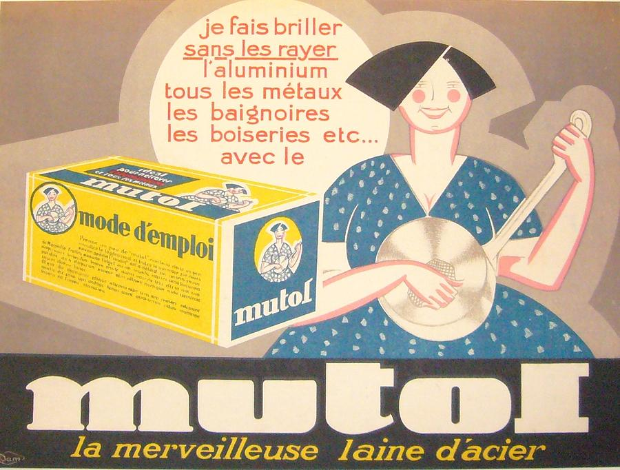 Retro Drawing - Original 1940s French Poster Mutol Polish by Anonymous