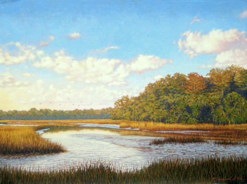 Marsh Scenes Painting - Original Autumn Flight by Michael Story
