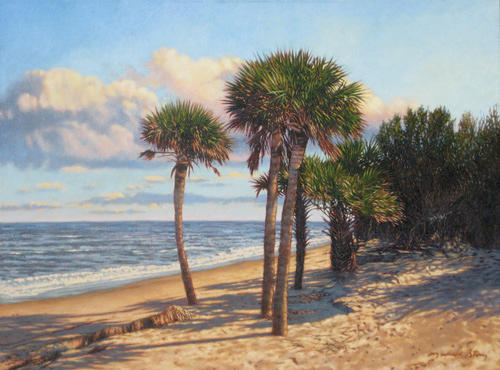 Marsh Scenes Painting - Original Barrier Island Palms by Michael Story