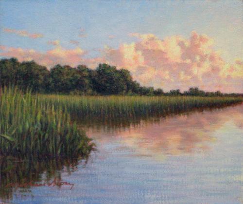 Marsh Scenes Painting - Original Cloud Mass Over Savannah by Michael Story