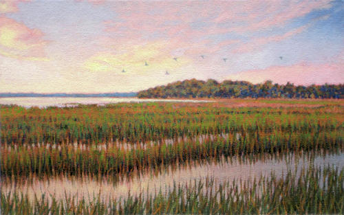 Marsh Scenes Painting - Original Color Of Morning by Michael Story