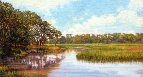 Marsh Scenes Painting - Original Creek Expanse by Michael Story