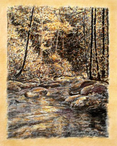 Rocks Painting - Original Dappled Light by Michael Story