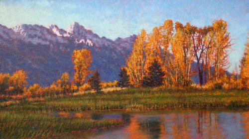 River Scenes Painting - Original Field Of Aspens by Michael Story
