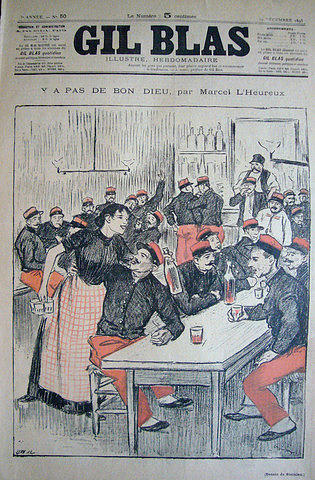 Vintage Drawing - Original Gil Blas Cover Deember 1893 by Theophile Steinlen