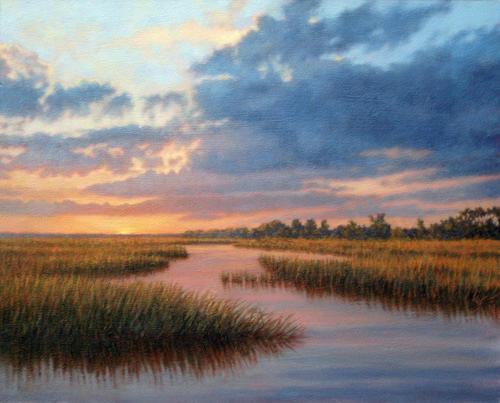 Marsh Scenes Painting - Original Hues Of December by Michael Story