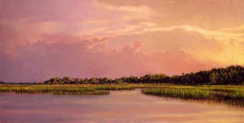 Marsh Scenes Painting - Original Illuminating Edisto by Michael Story
