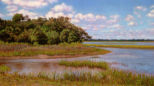Marsh Scenes Painting - Original Island Divide by Michael Story