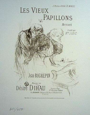 Toulouse Drawing - Original Lithograph Toulouse Laautrec Les Vieux Papillons by Toulouse Lautrec
