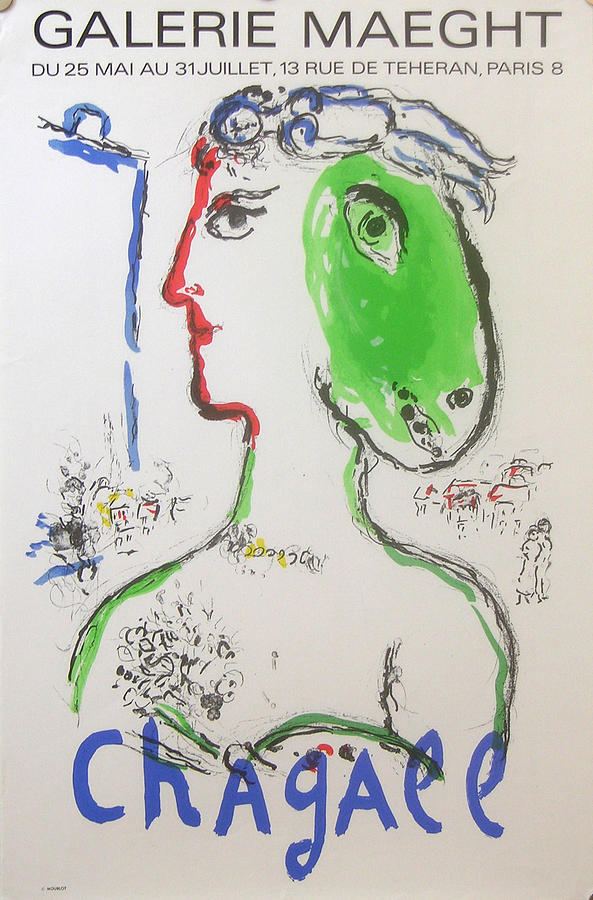 Chagall Drawing - Original Marc Chagall Exhibition Poster 1972 Artist As Phoenix by Marc Chagall