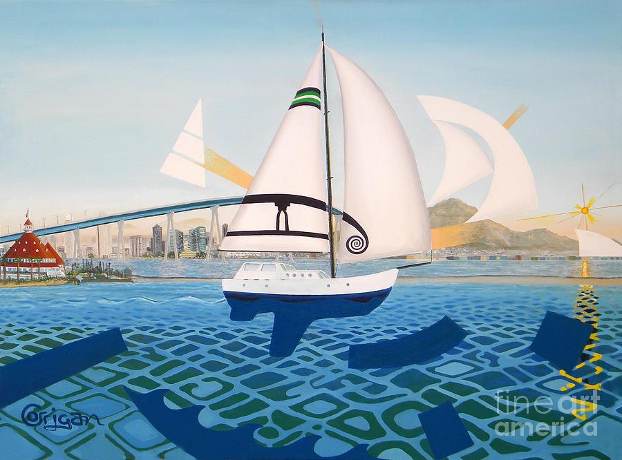Coronado Painting - Coronado Sailin - Memoryscape by David Corrigan