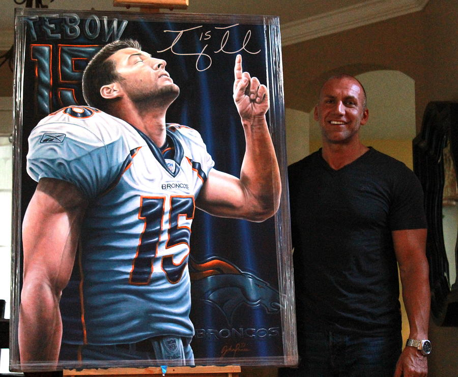 Tim Tebow  Painting - Original Painting Now Hangs In Tim Tebows Foundations Head Office by Sports Art World Wide John Prince