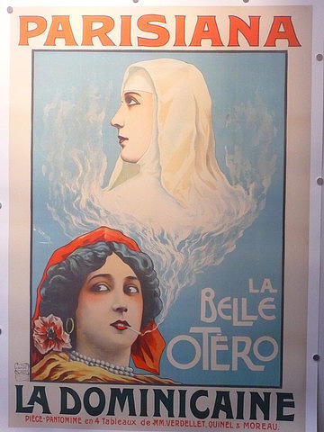 Original Drawing - Original Theater Poster 1903 La Dominicaine Parisiana by Damare