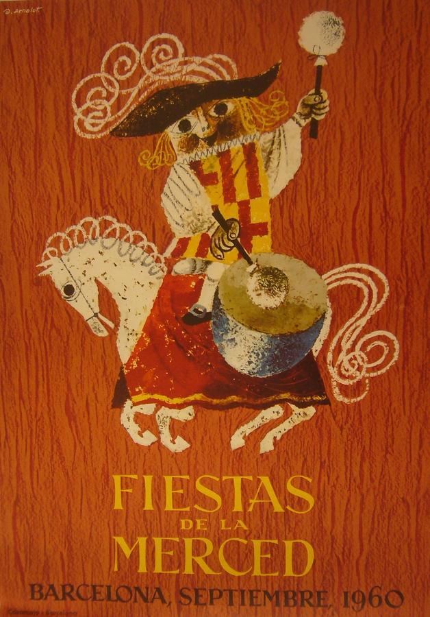 Original vintage spanish poster fiestas de la merced 1960 - Mobles vintage barcelona ...