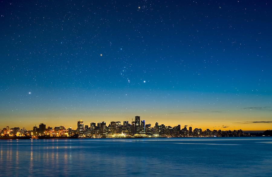 Vancouver Photograph - Orion Over Vancouver, Canada by David Nunuk