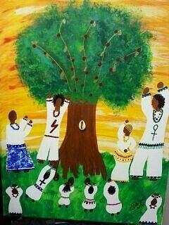 West Africa.  Yemaya Painting - Orisha Family Worship by Sula janet Evans