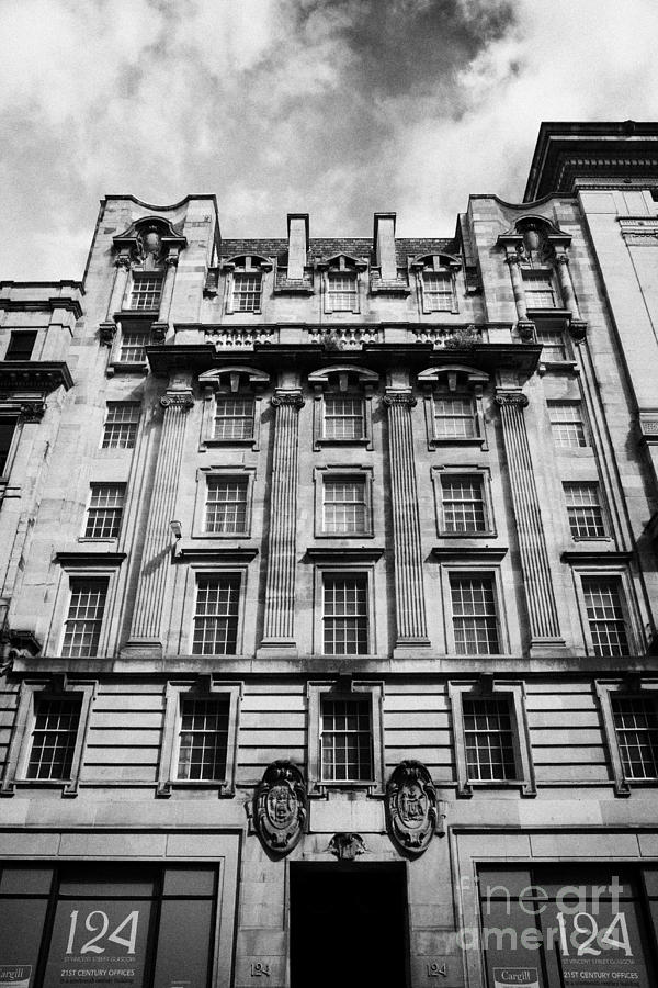 Refurbished Photograph - Ornate Facade Of 124 St Vincent Street Refurbished Into Modern Office Space Glasgow Scotland Uk by Joe Fox