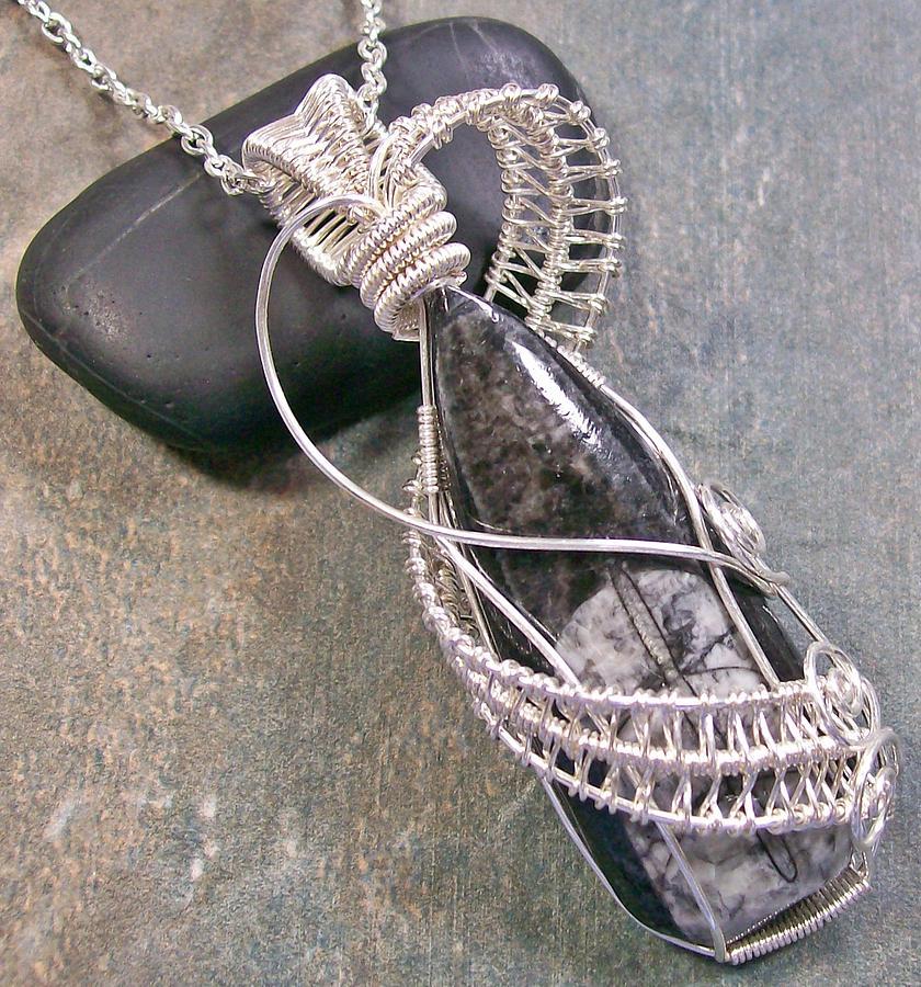 Pendant Jewelry - Orthoceras Fossil Wrapped Lattice Pendant by Heather Jordan