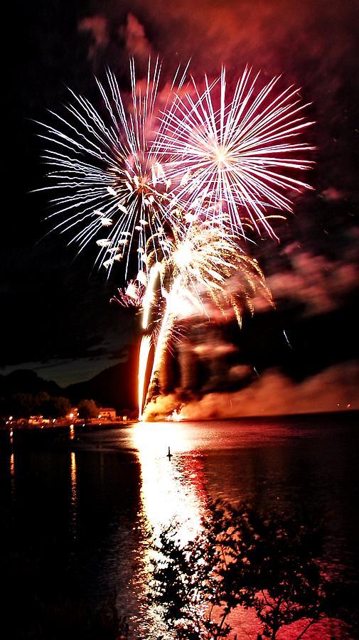 Fireworks Digital Art - Osoyoos Lake On Fire by Don Mann