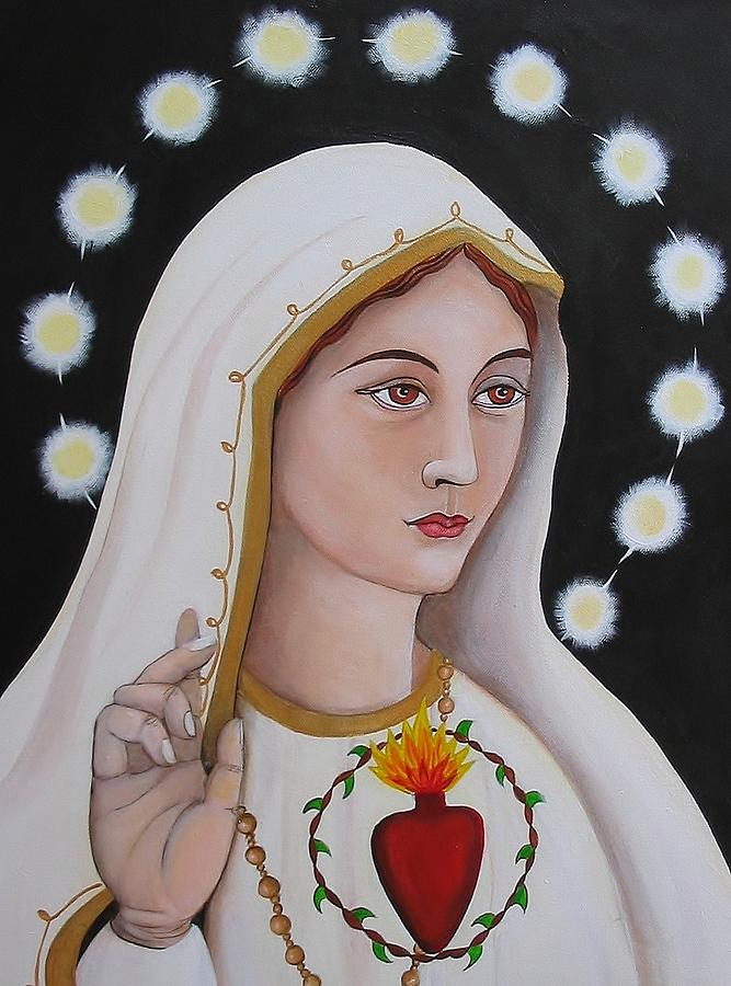 Our Lady Of Fatima Painting By Christina Miller