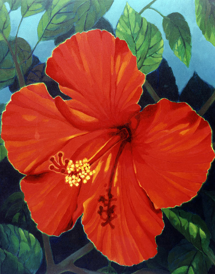 Red Hibiscus Flower. Painting - Our Lady Of Florida by Kyra Belan