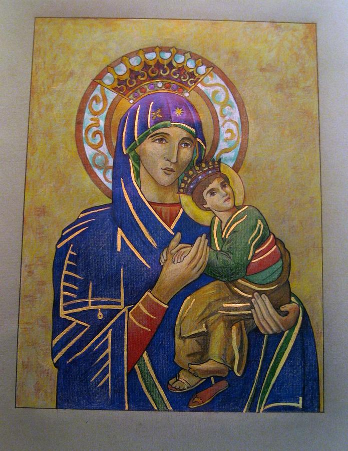 Our Lady Of Perpetual Help Drawing by Patrick RANKIN
