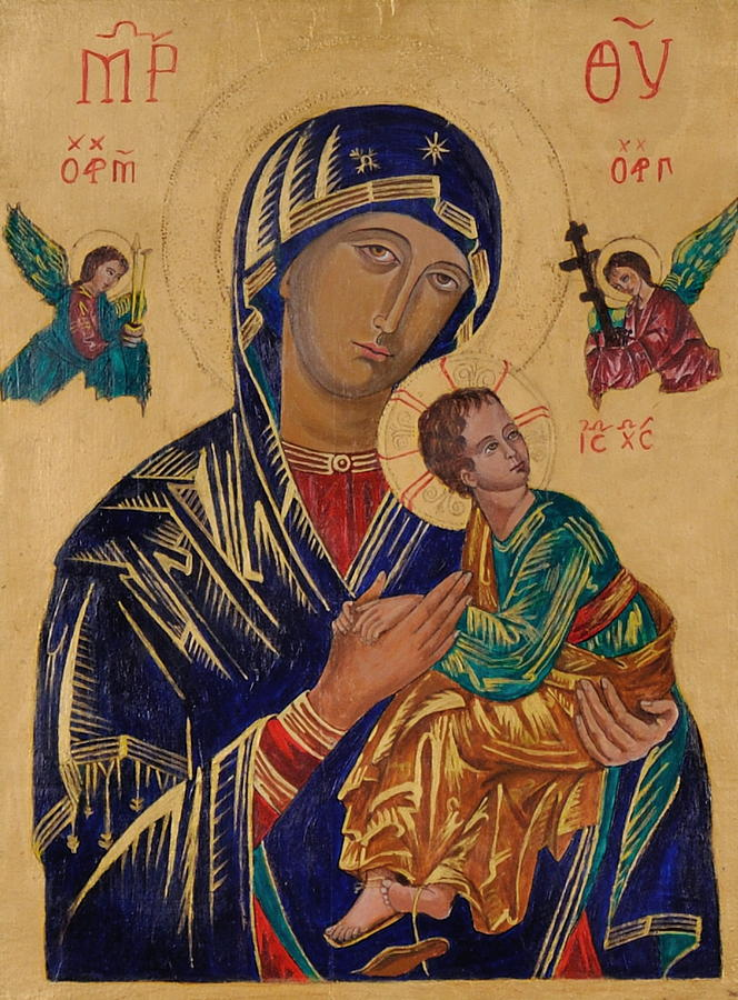 Sacred Art Painting - Our Mother Of Perpetual Help by Camelia Apostol