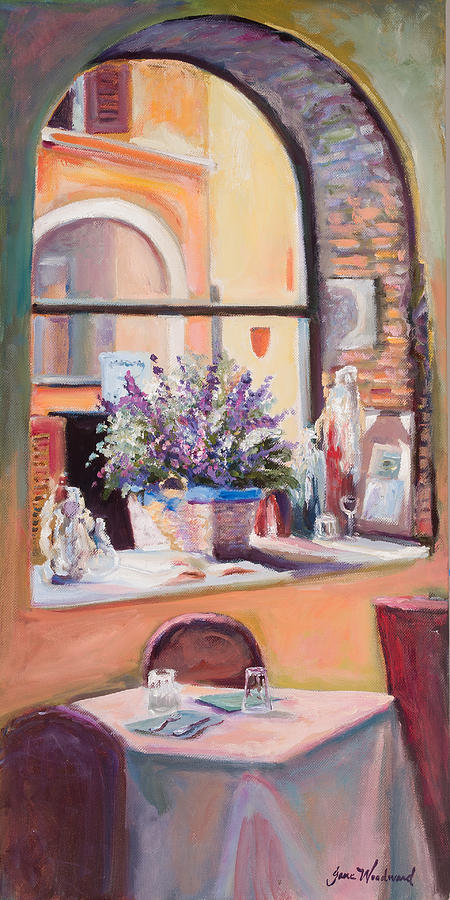 Jane Woodard Painting - Our Table By The Window by Jane Woodward
