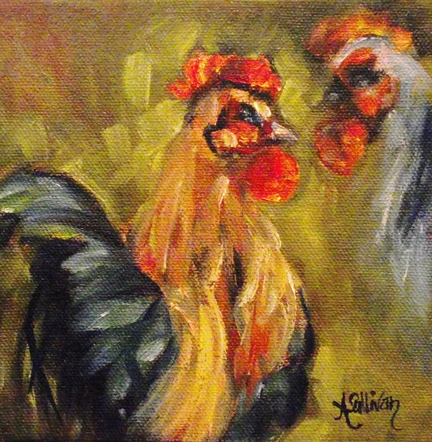 Chicken Painting - Out Front by Angela Sullivan