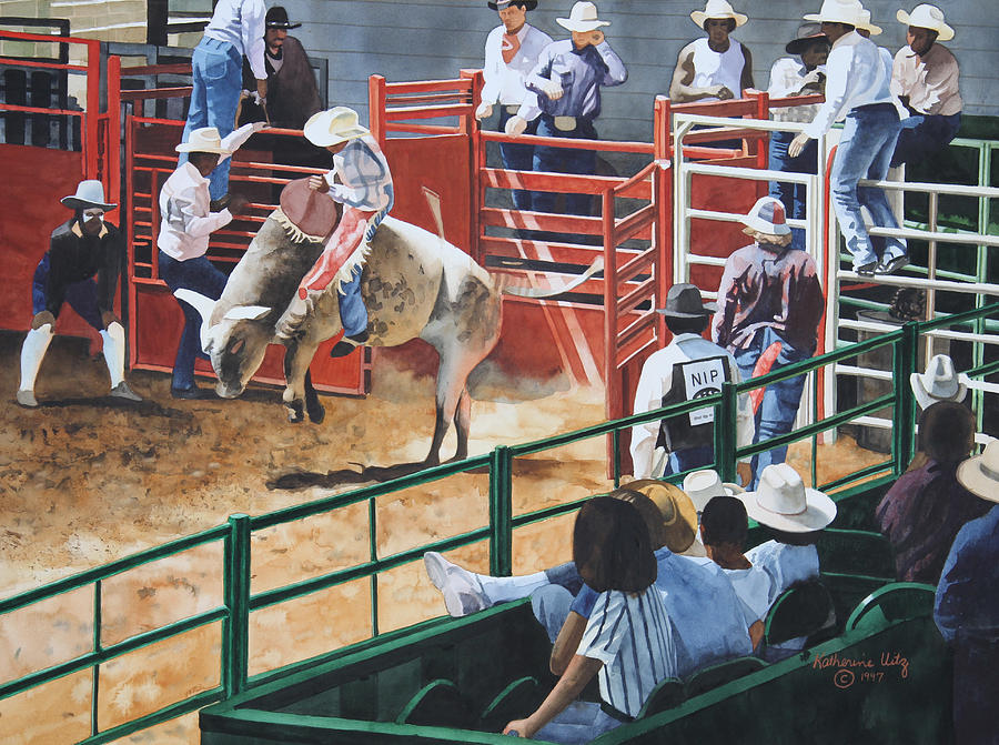 Rodeo Painting - Out Of The Chute by Katherine Uitz