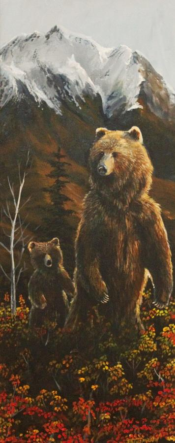Grizzly Bear Painting - Out With Mom by Scott Thompson