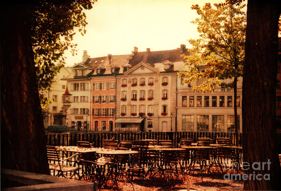 Lucerne Photograph - Outdoor Cafe In Lucerne Switzerland  by Susanne Van Hulst