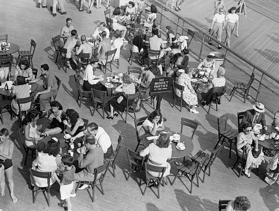 Adults Only Photograph - Outdoor Cafe Scene by George Marks