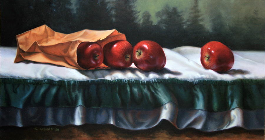 Apples Painting - Outdoor Delight by William Albanese Sr