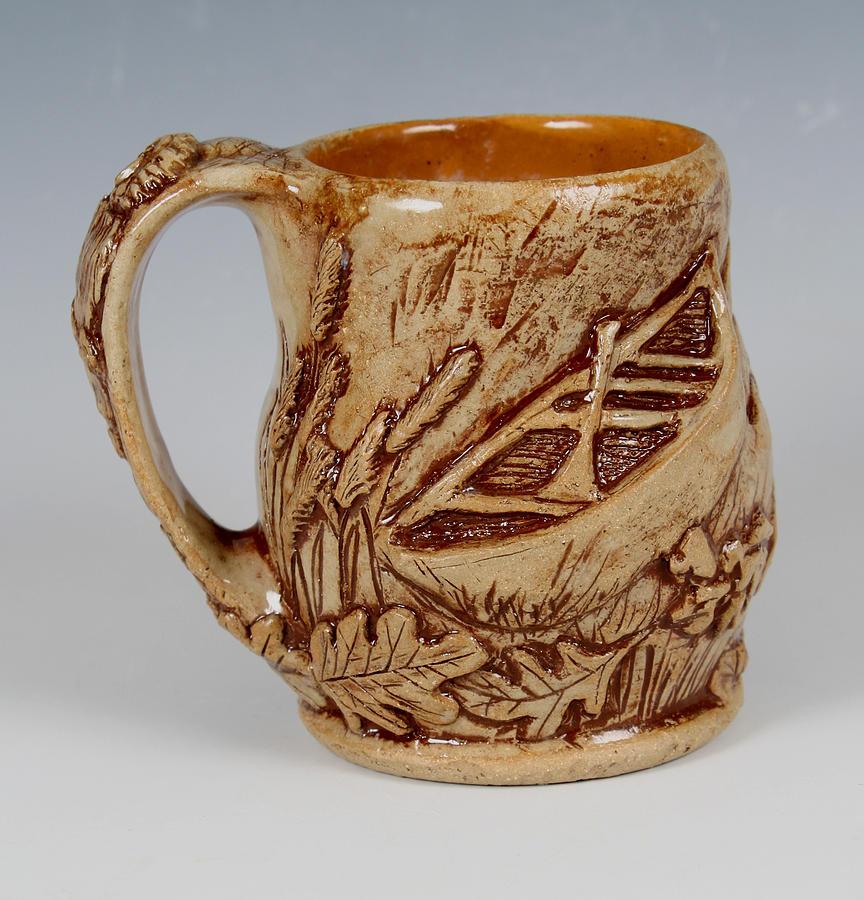 Canoe Ceramic Art - Outdoor Nature Mug by Patty Sheppard