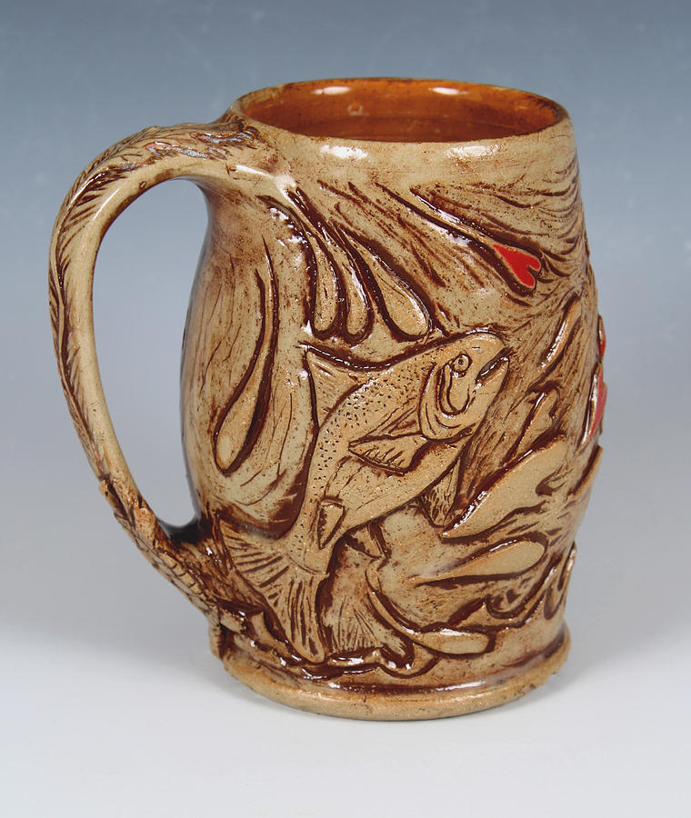 Trout Ceramic Art - Outdoor Theme Mug by Patty Sheppard