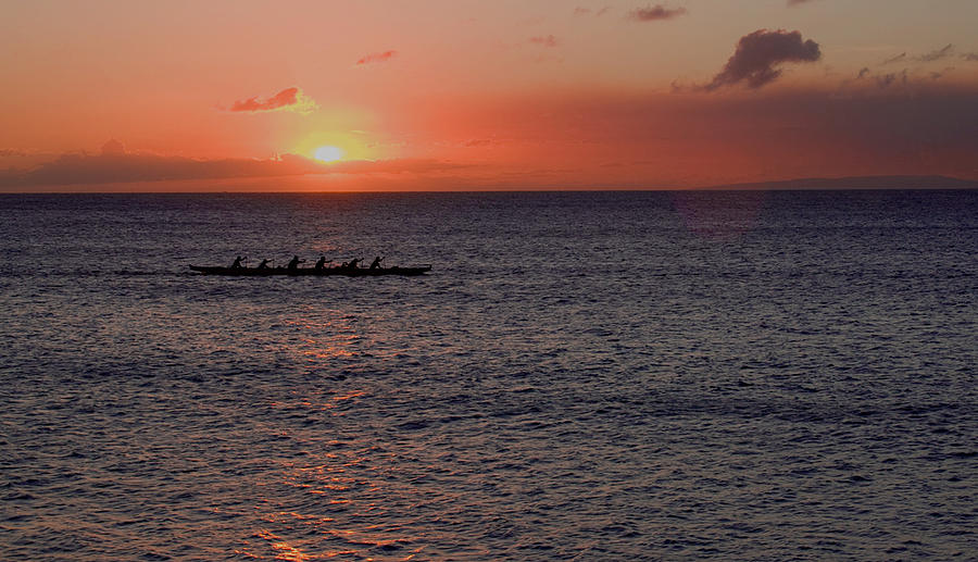 Canoe Photograph - Outrigger Sunset by Tony and Kristi Middleton