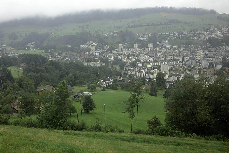 Building Photograph - Ovehead View Of Houses From The Gondola Starting At Kriens In Switzerland by Ashish Agarwal