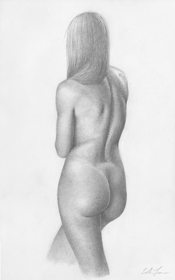 Female Nude Drawings Drawing - Over Her Shoulder by Eddie Torres