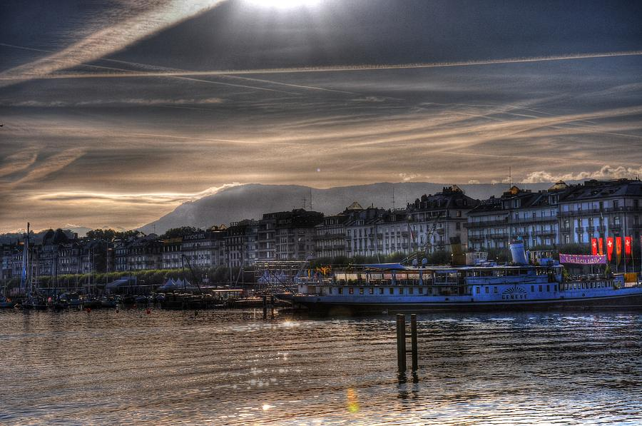 Geneva Switzerland Digital Art - Over The Bay by Barry R Jones Jr