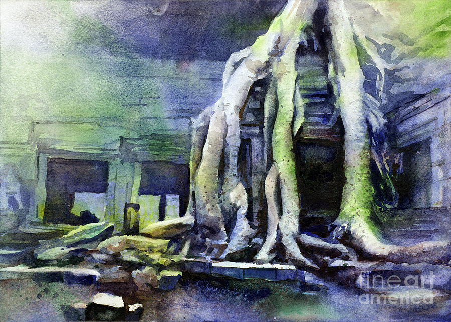 Overgrown Cambodian Temple Painting By Ryan Fox